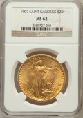 Saint-Gaudens Double Eagles: , 1907 $20 Arabic Numerals MS62 NGC. NGC Census: (3138/5568). PCGSPopulation (2352/10505). Mintage: 361,667. Numismedia Wsl....