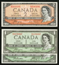 Canadian Currency: , Devil's Face $1 and $2 Notes.. ... (Total: 3 notes)