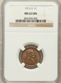 Lincoln Cents: , 1915-D 1C MS63 Brown NGC. NGC Census: (71/137). PCGS Population(69/92). Mintage: 22,050,000. Numismedia Wsl. Price for pro...