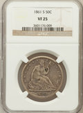 Seated Half Dollars: , 1861-S 50C VF25 NGC. NGC Census: (1/73). PCGS Population (3/84).Mintage: 939,500. Numismedia Wsl. Price for problem free N...