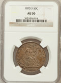 Seated Half Dollars: , 1875-S 50C AU50 NGC. NGC Census: (4/232). PCGS Population (8/286).Mintage: 3,200,000. Numismedia Wsl. Price for problem fr...
