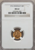 Commemorative Gold: , 1916 G$1 McKinley MS62 NGC. NGC Census: (267/2004). PCGS Population(378/3761). Mintage: 9,977. Numismedia Wsl. Price for p...