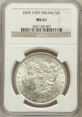 Morgan Dollars: , 1878 7/8TF $1 Strong MS61 NGC. NGC Census: (203/3454). PCGSPopulation (236/5177). Mintage: 544,000. Numismedia Wsl. Price ...