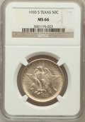 Commemorative Silver: , 1935-S 50C Texas MS66 NGC. NGC Census: (437/84). PCGS Population(350/100). Mintage: 10,000. Numismedia Wsl. Price for prob...