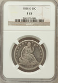 Seated Half Dollars: , 1858-O 50C Fine 15 NGC. NGC Census: (2/317). PCGS Population(3/435). Mintage: 7,294,000. Numismedia Wsl. Price for problem...