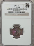 Proof Indian Cents, 1885 1C PR65 Brown NGC. Ex: Eagle Eye Photo Seal, from the LarryShepherd Collection. NGC Census: (174/126). PCGS Populatio...