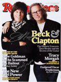 Music Memorabilia:Autographs and Signed Items, Eric Clapton and Jeff Beck Autographed Rolling Stone Magazine, 2010....