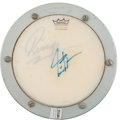 Music Memorabilia:Autographs and Signed Items, Beatles' Ringo Starr and Rush's Neil Peart Signed Remo DrumPractice Pad....