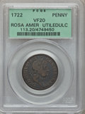 Colonials: , 1722 PENNY Rosa Americana Penny, UTILE VF20 PCGS. PCGS Population(4/51). NGC Census: (0/20). ...