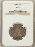 Seated Quarters: , 1844 25C VG8 NGC. NGC Census: (1/73). PCGS Population (0/72).Mintage: 421,200. Numismedia Wsl. Price for problem free NGC/...