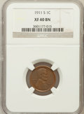 Lincoln Cents: , 1911-S 1C XF40 NGC. NGC Census: (42/594). PCGS Population (85/524).Mintage: 4,026,000. Numismedia Wsl. Price for problem f...