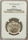 Commemorative Silver: , 1936 50C Oregon MS65 NGC. NGC Census: (548/653). PCGS Population(859/694). Mintage: 10,006. Numismedia Wsl. Price for prob...