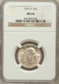 Standing Liberty Quarters: , 1929-D 25C MS64 NGC. NGC Census: (201/126). PCGS Population(292/185). Mintage: 1,358,000. Numismedia Wsl. Price for proble...