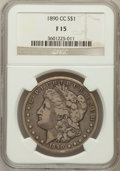 Morgan Dollars: , 1890-CC $1 Fine 15 NGC. NGC Census: (60/5544). PCGS Population (104/9948). Mintage: 2,309,041. Numismedia Wsl. Price for pr...