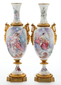 A PAIR OF FRENCH SÈVRES-STYLE PORCELAIN AND GILT BRONZE VASES MOUNTED AS LAMPS Maker unknown, France, circa 1900&...