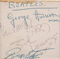 Music Memorabilia:Autographs and Signed Items, Beatles Set of Autographs, Circa 1963....