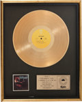 Music Memorabilia:Autographs and Signed Items, Ted Nugent In-House Gold Award, Epic 1975....