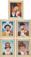 Movie/TV Memorabilia:Original Art, A Red Skelton Group of Signed Limited Edition Giclée Prints, Circa 1990s.... (Total: 5 Items)