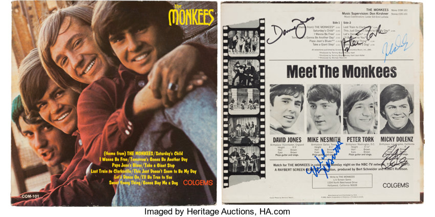 The Monkees Band Signed LP (Colgems 101, 1966)     (Total