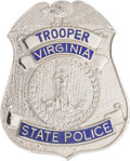 Music Memorabilia:Memorabilia, Elvis Presley Owned Virgina State Police Badge (1970s)....