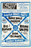 Music Memorabilia:Posters, Buddy Holly Final Concert Surf Ballroom Poster (1959)....
