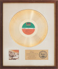Music Memorabilia:Awards, Led Zeppelin Houses of the Holy RIAA Gold Record Award(Atlantic 7255, 1973)...