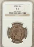 Barber Half Dollars: , 1892-O 50C Good 4 NGC. NGC Census: (27/266). PCGS Population(38/425). Mintage: 390,000. Numismedia Wsl. Price for problem ...