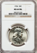 Franklin Half Dollars: , 1954 50C MS64 Full Bell Lines NGC. NGC Census: (444/237). PCGSPopulation (3011/1114). Numismedia Wsl. Price for problem f...