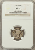 Mercury Dimes: , 1916-D 10C AG3 NGC. NGC Census: (0/1278). PCGS Population(1835/3378). Mintage: 264,000. Numismedia Wsl. Price for problem...