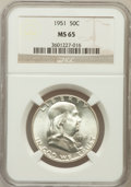 Franklin Half Dollars: , 1951 50C MS65 NGC. NGC Census: (766/88). PCGS Population (671/49).Mintage: 16,859,602. Numismedia Wsl. Price for problem f...