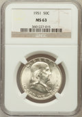 Franklin Half Dollars: , 1951 50C MS63 NGC. NGC Census: (134/1551). PCGS Population(191/1942). Mintage: 16,859,602. Numismedia Wsl. Price for probl...
