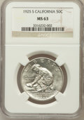 Commemorative Silver: , 1925-S 50C California MS63 NGC. NGC Census: (621/2922). PCGSPopulation (1207/2639). Mintage: 86,394. Numismedia Wsl. Price...