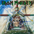 Music Memorabilia:Autographs and Signed Items, Iron Maiden Band Signed Aces High Cover (EMI 5502, 1984)....