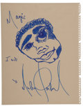 Music Memorabilia:Autographs and Signed Items, Michael Jackson Signed Drawing, Circa 1980s....