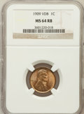 Lincoln Cents: , 1909 VDB 1C MS64 Red and Brown NGC. NGC Census: (1107/1111). PCGSPopulation (2129/1189). Mintage: 27,995,000. Numismedia W...