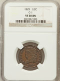 1829 1/2 C VF30 NGC. C-1. NGC Census: (7/240). PCGS Population (13/259). Mintage: 487,000. Numismedia Wsl. Price for pro...