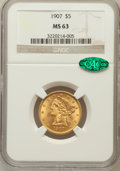 Liberty Half Eagles: , 1907 $5 MS63 NGC. CAC. NGC Census: (1892/1066). PCGS Population(1621/785). Mintage: 626,192. Numismedia Wsl. Price for pro...