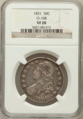 Bust Half Dollars, 1831 50C VF20 NGC. O-108. NGC Census: (12/1513). PCGS Population(6/1696). Mintage: 5,873,660. Numismedia Wsl. Price for pr...