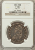 Bust Half Dollars: , 1835 50C VF30 NGC. O-105. NGC Census: (30/776). PCGS Population(40/822). Mintage: 5,352,006. Numismedia Wsl. Price for pro...