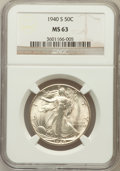 Walking Liberty Half Dollars: , 1940-S 50C MS63 NGC. NGC Census: (321/2283). PCGS Population(786/3418). Mintage: 4,550,000. Numismedia Wsl. Price for prob...