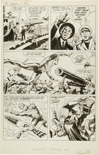 """Jack Kirby and Joe Simon The Double Life of Private Strong #1 """"Mystery of the Vanished Wreckage"""" Page 5 Or"""