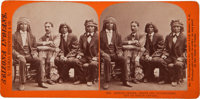 Albumen Stereoview: Arizona Indian chiefs and Superintendent of Indian Affairs
