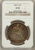 Seated Dollars: , 1860-O $1 XF40 NGC. NGC Census: (28/667). PCGS Population(56/1027). Mintage: 515,000. Numismedia Wsl. Price for problemfr...