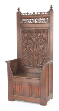 A FRENCH GOTHIC-STYLE HIGH BACK CHAIR 20th century 80 x 37-1/2 x 21-1/2 inches (203.2 x 95.3 x 54.6 cm)
