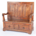 Furniture , A FRENCH FRUITWOOD THREE-PANEL SETTLE. 19th century. 38-1/2 inches x 38-1/2 x 16 (97.8 x 97.8 x 40.6 cm). The Elton M. Hy...