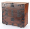 Furniture , A KOREAN CHEST WITH IRON MOUNTS . 19th century. 34 inches x 35-1/2 inches x 15-3/4 inches (86.4 x 90.2 x 40.0 cm). The Elt...