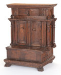 Furniture , AN ITALIAN CARVED WALNUT PRIE-DIEU. 17th century. 37-3/4 inches x 29-3/4 inches x 19 inches (95.9 x 75.6 x 4...