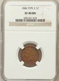 Indian Cents: , 1886 1C Type Two XF40 NGC. NGC Census: (12/203). PCGS Population(34/158). Numismedia Wsl. Price for problem free NGC/PCGS...