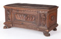 Furniture , AN ITALIAN WALNUT CASSONE WITH LEATHER TOP. 16th century. 22-1/4 inches x 44-1/2 inches x 21-1/2 inches (56.5 x 113.0 x 54.6...