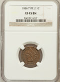 Indian Cents: , 1886 1C Type Two XF45 NGC. NGC Census: (16/187). PCGS Population(18/140). Numismedia Wsl. Price for problem free NGC/PCGS...